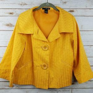 WILLI SMITH Mustard Yellow Button Crop Blazer